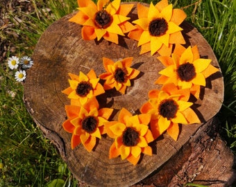 Sunflower mane and tail charm set, equine flower charm set, sunflower mane and tail clips for the Equestrian
