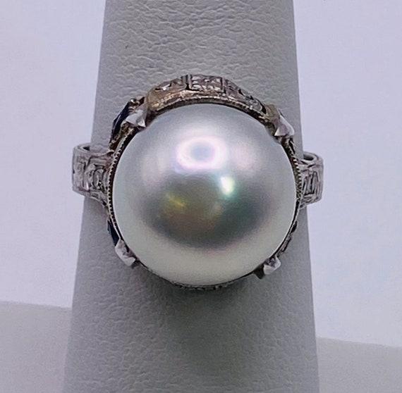 Vintage 1920's Platinum, Diamond, Sapphire and Pe… - image 1