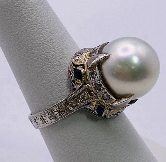Vintage 1920's Platinum, Diamond, Sapphire and Pe… - image 2
