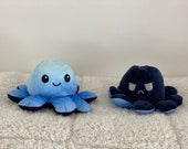 Day Night Blue Mood Octopus Plushies, Reversible Design, Double-Sided, Expression Flip, Gifts for Adults and Kids, As seen on TikTok