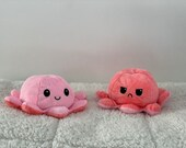 Pink Peach Mood Octopus Plush, Reversible Design, Double-Sided, Expression Flip, Gifts for Adults and Kids, As Seen on TikTok
