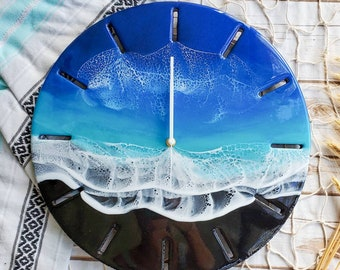 Ocean Resin Clock | Beach Resin Clock | Black Sand Beach Clock | Hawaii Clock | Epoxy Resin Clock