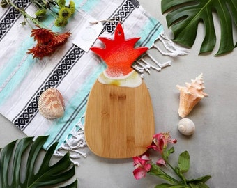 Pineapple Ocean Epoxy Resin Cutting Board Charcuterie Board Bamboo | Red | Purple and Pink