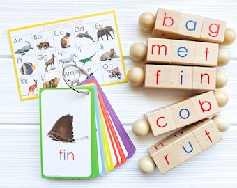 Spin-and-Read Montessori Phonetic Reading Blocks and CVC Words Flashcard Travel Toy Set for Beginner Readers & Kindergarten Reading
