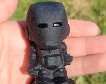 ONE 2.5 inch tall amazingly high quality carved black obsidian Iron Man/home decor/perfect gift/protection stone