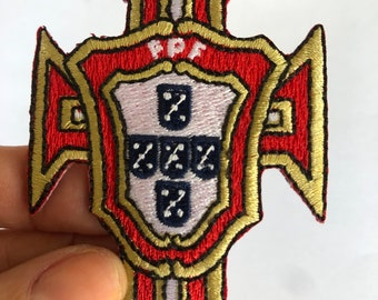 """2 Pcs Portugal Flag Logo Leaf Embroidered Patches 3.25/""""x3.75/"""" iron-on"""