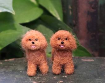 Needle Felted Little Poodle, Miniature, Dollhouse dog