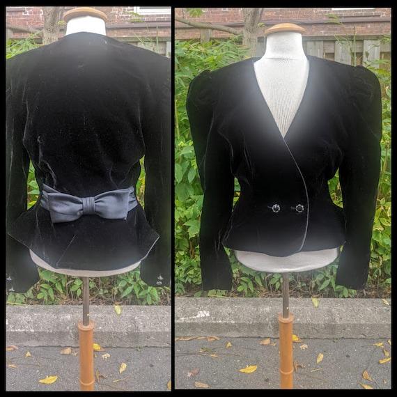 Velvet Mutton Sleeve 80s Blazer