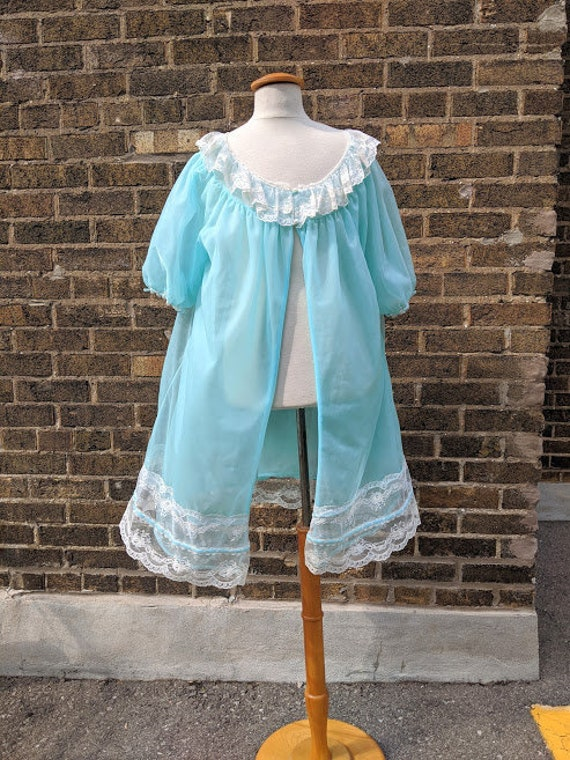 Dorsay Peignoir/ Negligee Turquoise w Lace Trim