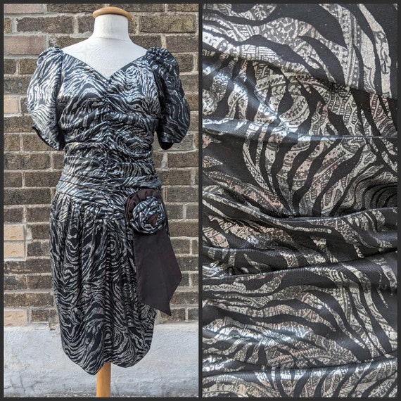 80s Zebra Ruched Dress
