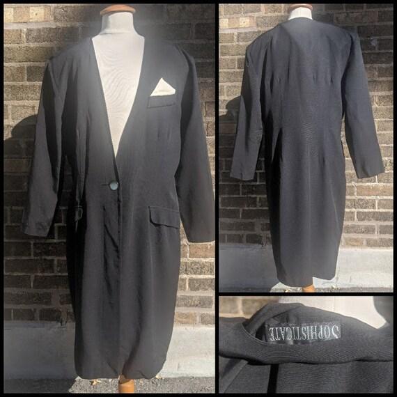 80s Black Blazer Dress Sophisticate