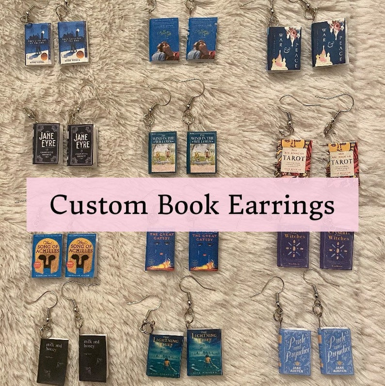 Custom Miniature Book Earrings  Handmade Back to School image 0