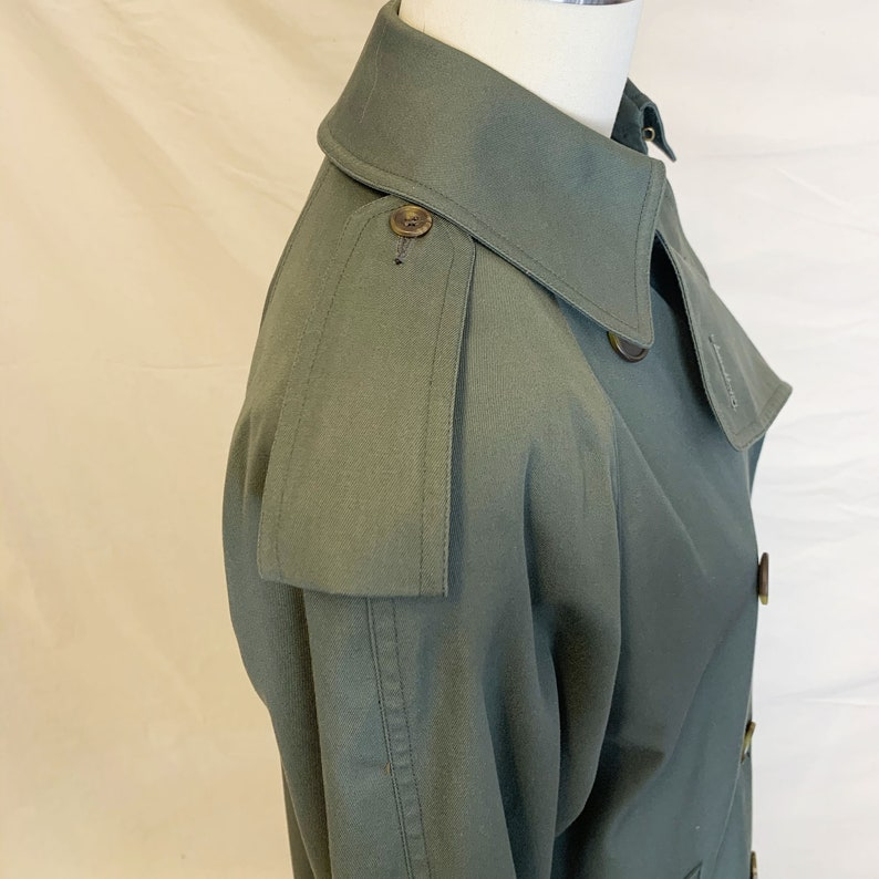 Made in Canada Vintage 80s Aquascutum London Classic Double Breasted Military Khaki Trench Coat