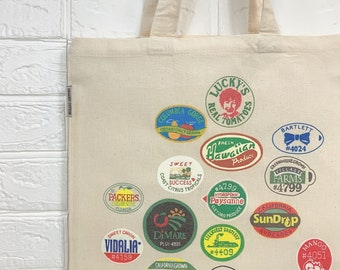 fruit sticker tote bag, graphic tote, fruit tote, food tote