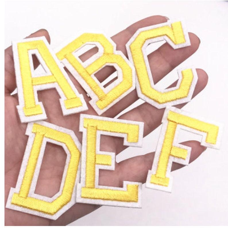 1pcs yellow Color English Alphabet Letter A-Z Applique Iron On letters Patch For Clothing Badge Paste For Clothes Bag Shoes