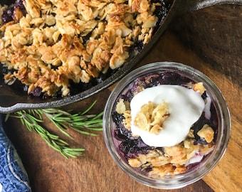 Rustic Blueberry Crisp Recipe with BONUS recipe- 'Nice' Cream- a healthy non-dairy ice cream alternative! Downloadable, Printable