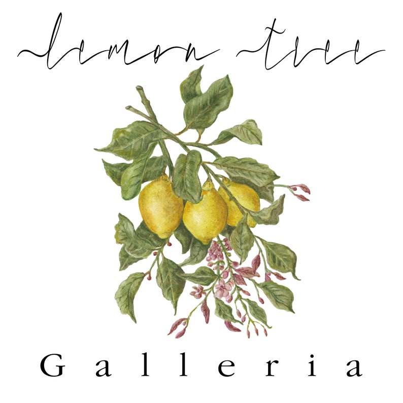 Home Decor Living Room Art Lemon Tree Galleria Flower Botanical Watercolor Prints Set of 2 Wall Art Bedroom Art
