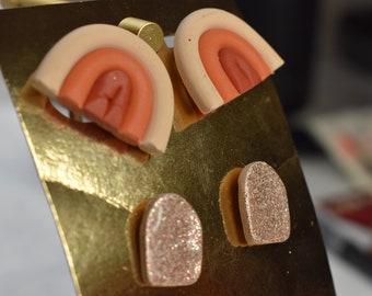 Minimalist pink glitter shiny resin stud pack Terra cotta clay orange handmade Stud earrings