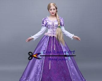 Disney Tangled Rapunzel Cosplay Costume Rapunzel dress Princess Party dress for Adult Women Girls Customized