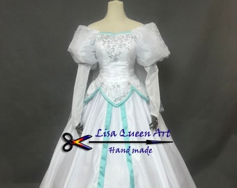 The little Mermaid Ariel cosplay costume Fancy princess Ariel wedding dress Hallooween Dress