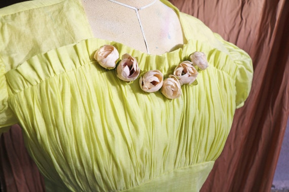 30s 40s 50s lime cotton dress with puff sleeves - image 4