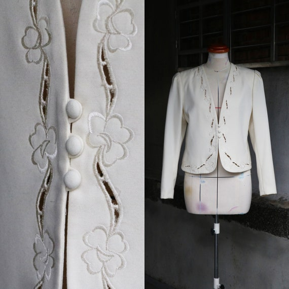 80s white embroidered eyelet jacket