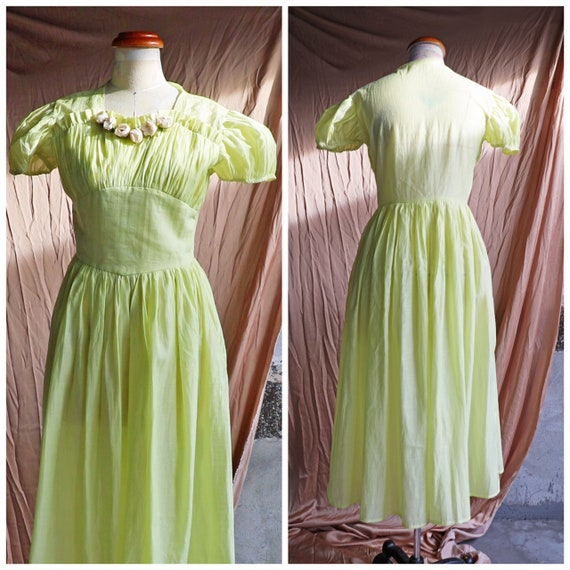 30s 40s 50s lime cotton dress with puff sleeves