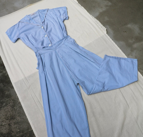 40s 50s baby blue sailor pajama two pieces set