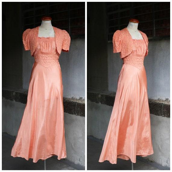 30s 40s peach quilted puff sleeves bolero & slip d