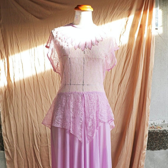 30s 40s lilac rayon lace gown/party dress
