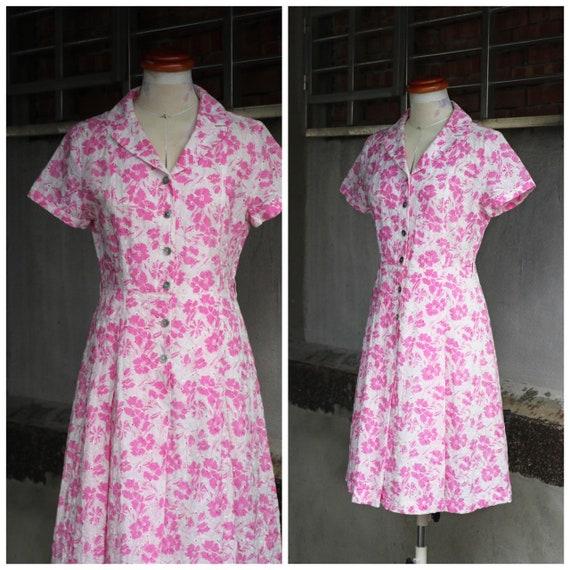 50s pink & white eyelet floral shirt dress