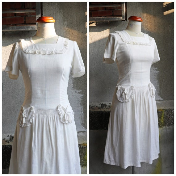 30s 40s white lace cute details linen cotton dress