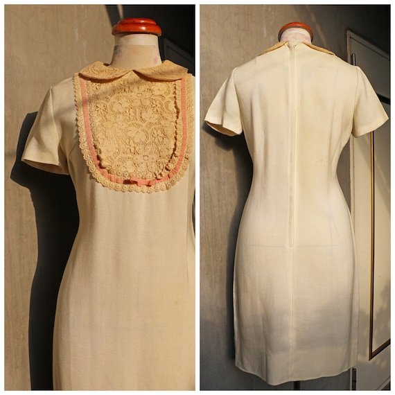 60s ivory Peter Pan lace collar shift dress