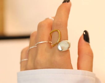 Geometric Wide Ring Statement Gold Silver Double Band Gold Band Stackable Ring Geometric Wave Ring 100/% 925 Silver Two Row Curved Ring