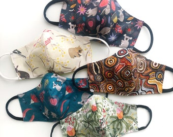 Aussie reusable 3 Layer Fabric Masks w nose wire & filter pockets. Comfy elastics. Australian Made breathable mould design
