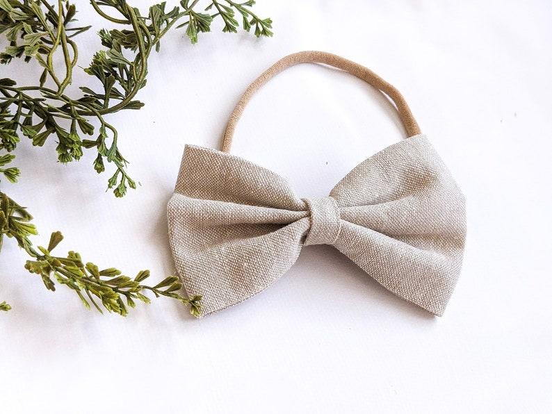 Cream Hairbow Linen Oatmeal MEDIUM Bow Girl/'s Headband Newborn Toddler Hairbow Linen Headband Solid Hair bows Girl/'s Hair Bow