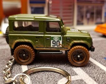 Land Rover 90 1//64 Custom Keychain FOB Porte Cles Llavero Range green