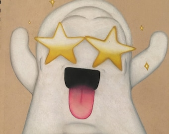 ORIGINAL: Star Ghost Colored Pencil Drawing