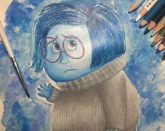PRINT: Disney Pixar Inspired Sadness Artwork