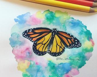 ORIGINAL: Monarch Butterfly Colored Pencil Original Artwork