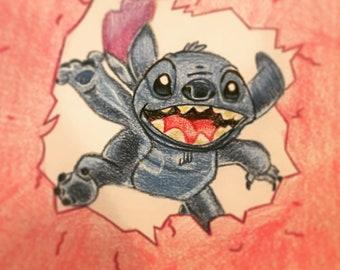 Original: Disney's Stitch Inspired Colored Pencil Art Piece