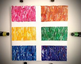 Original Abstract Rainbow Canvas Painting Acrylic Paint