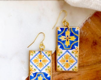 Hand-painted artisan ceramic jewelry made in Italy Sicilian vase woman earrings