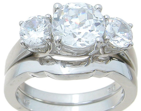3 Stone Classic Style CZ Simulated Diamond Silver Bridal Set