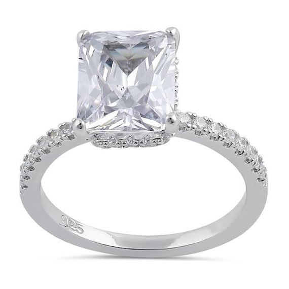 Silver Pave Emerald Cut Engagement ring