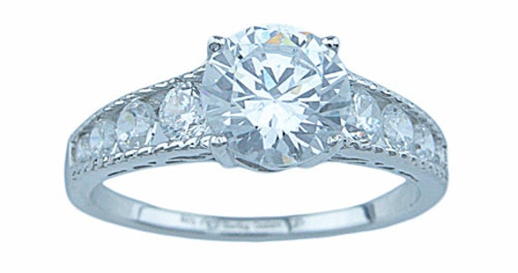 Round Cut Antique Style CZ Simulated Diamond Silver Ring