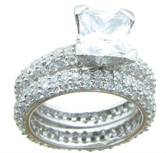 2PC Princess cut Pave CZ Simulated Diamond Silver Wedding Set