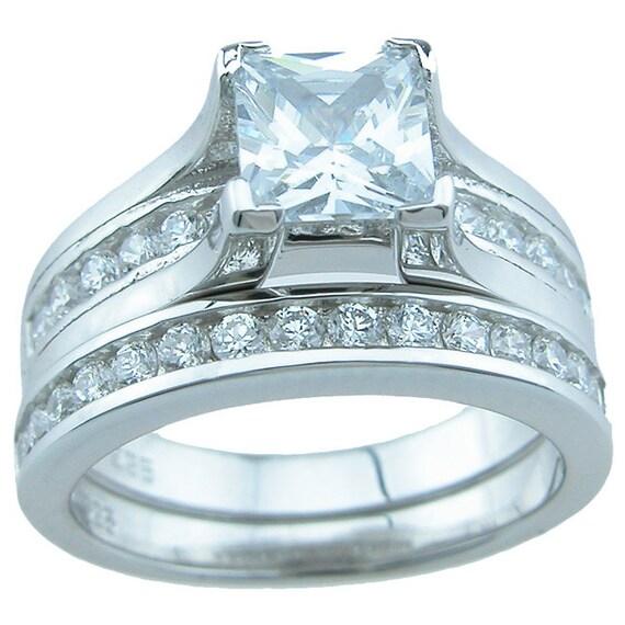 2PC Princess Cut CZ Simulated Diamond Silver Engagement Wedding Ring Bridal Set