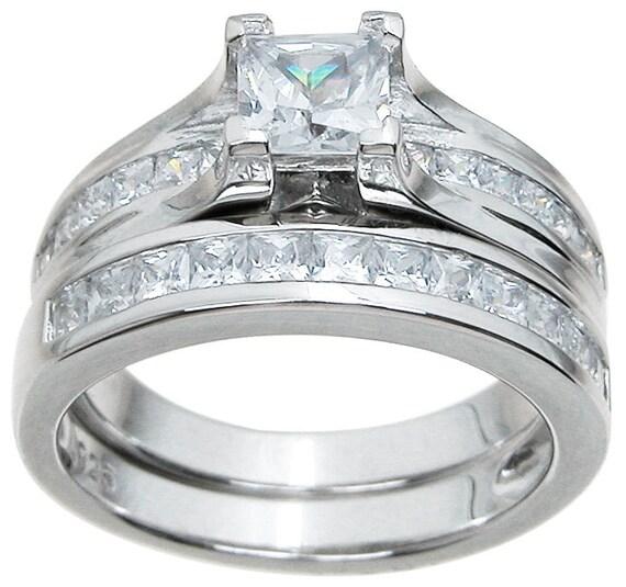 2PC Princess CZ Simulated Diamond Silver Bridal Wedding Ring Set