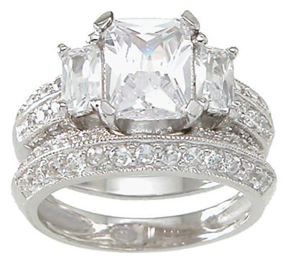 3 Stone Emerald Cut CZ Simulated Diamond Silver Ring Bridal Set